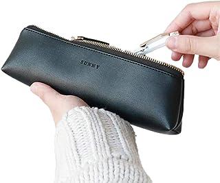 Fyore - Estuche de piel de lujo, diseño delgado con cremallera metálica, tamaño de bolsillo para bolígrafo y brocha de maquillaje, color negro 20*5*4.4cm