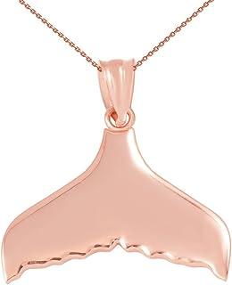 14ct oro rosa cola de Ballena colgante collar (viene con un 45cm cadena)
