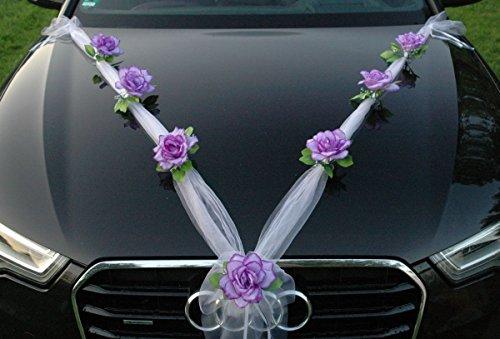 Organza M Auto Schmuck Braut Paar Rose Deko Dekoration Hochzeit Car Auto Wedding Deko (Lila/Weiß)
