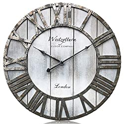 Westzytturm Wood Wall Clocks Decorative Living Room 18 inch Battery Operated Non Ticking Silent Large Roman Numeral Face Easy to Read Rustic Farmhouse Style Grey