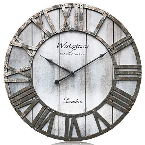 Westzytturm - Orologio da parete in legno, stile vintage, con lancette in metallo, rotonde, in legno, per soggiorno, camera da letto, ufficio, Legno, Grigio, 46 cm