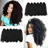 12 Inch Short Passion Twist Hair Marlybob Crochet Hair 3 Small Bundles Kinky Curly Crochet Hair Short Crochet Braids Jerry Curly Crochet Hair Kinky Twist Crochet Hair Crochet Braiding Hair (3Bundles12Inch, 1b#)