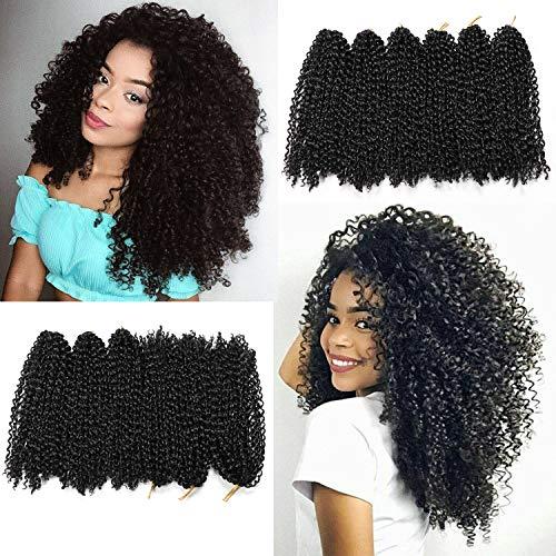 12 Inch Short Passion Twist Hair Marlybob Crochet Hair 6 Small Bundles Kinky Curly Crochet Hair Short Crochet Braids Jerry Curly Crochet Hair Kinky Twist Crochet Hair Crochet Braiding Hair (1B#)