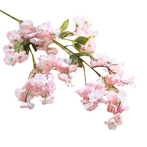 Janly Clearance Sale Flor artificial de seda de cerezo con hortensias para novia, decoración del hogar, jardín, decoración del hogar para el día de Pascua (rosa)