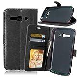 JEEXIA Funda para Alcatel OneTouch Pop C9, Moda Business Flip Wallet Case Cover PU Cuero con Soporte Cubierta Protectora - Negro