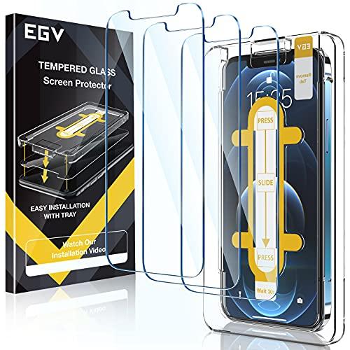 EGV Compatibile con iPhone 12 Pro Max Pellicola Protettiva,3 Pack,Vetro Temperato, Installazione Semplice, con la Guida dello Strumento di Allineamento