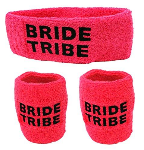 Funny Guy Mugs Bride Tribe Unisex Sweatband Set (3-Pack: 1 Headband & 2 Wristbands)