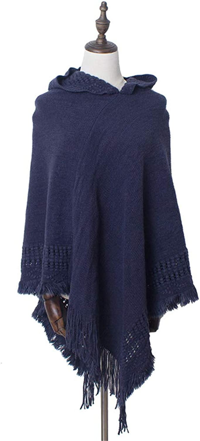 Women's Acrylic Shawl Warm Cloak for Autumn and Winter (color   Navy blueee)