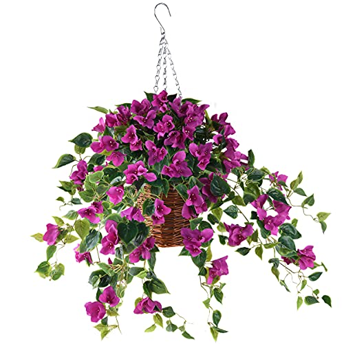 INQCMY Artificial Flowers Hanging Basket with Bougainvillea Silk Vine Flowers...