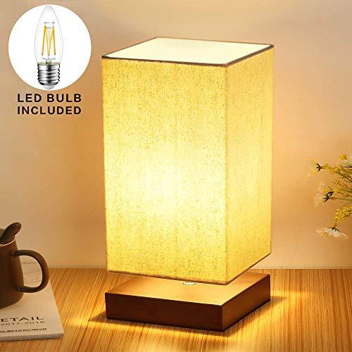 DLLT Tischlampe aus Holz Nachttischlampe Vintage Stehlampe Modern auf Tisch E27-Fassung mit EU-Stecker Warmweiß für Wohnzimmer, Kinderzimmer, Schlafzimmer, Esszimmer Eckig