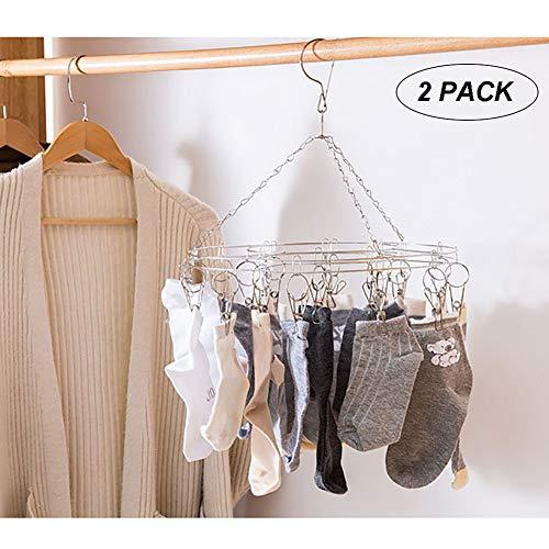 JKLKL 2Er-Pack Kreativer, Platzsparender Doppelschicht-Kleiderbügel, Edelstahl-Windbreaker-Clip-Socken, Wäscheständer,StyleA