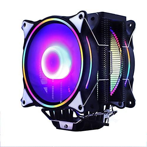 120mm CPU Radiador de la CPU Ventilador 6 Tubos de Calor RGB PWM 4PIN SALIENTE para Inte LGA 115X 1200 1366 2011 V3 X79 X99 AM4 Socket (Blade Color : 2FANS RGB)