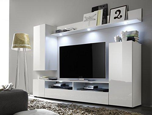 trendteam DS94501 Wohnwand Anbauwand Wohnzimmerschrank weiß Nachbildung und Front in weiß Hochglanz, BxHxT 208 x 165 x 33 cm - 2
