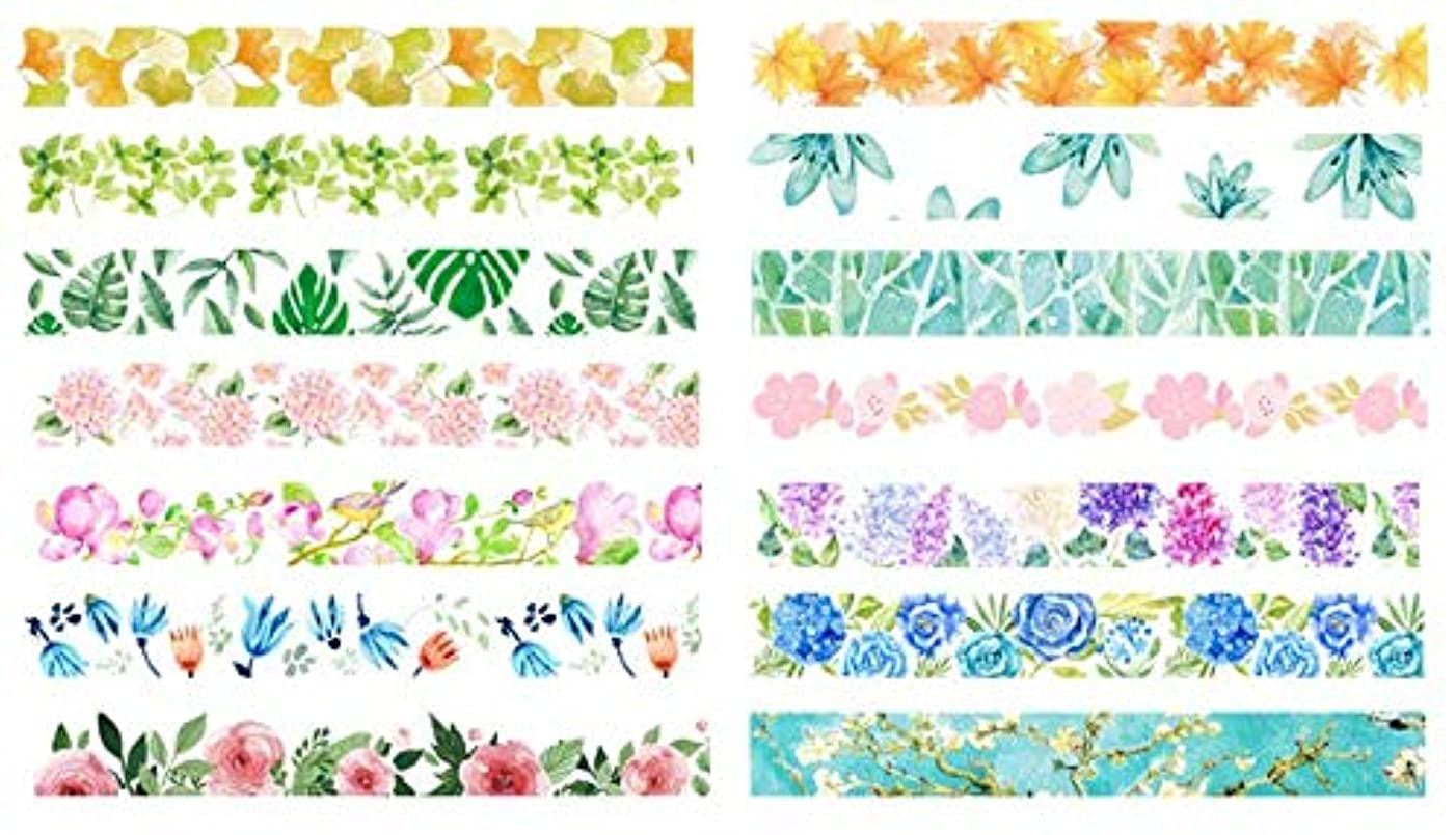 Funrarity Plant Flower Season Flower Washi Masking Tape 15mm x 7m (Pack of 14)