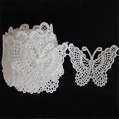 Yulakes 3 Yard 5cm Schmetterling Baumwolle spitzenband Vintage Häkelband Spitze Borte Häkelspitze Häkel-Borte Spitzenband für Nähen Handwerk Hochzeit Deko
