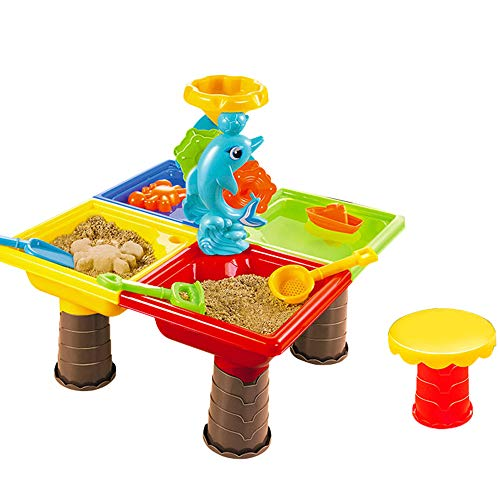 FIN86 Summer Beach Toy, Kids Play Sand Tool Large Play Water Digging Sandglass Dolphins Round Beach Table Children Best Gift