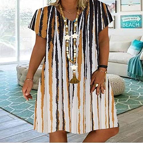 Tallas Grandes Bohemio Vestido Verano 2020 para Mujer, Ropa de Playa, Vestido Cortos de Casual Fiesta Estampado Floral Manga Corta Cuello En V, S-5XL
