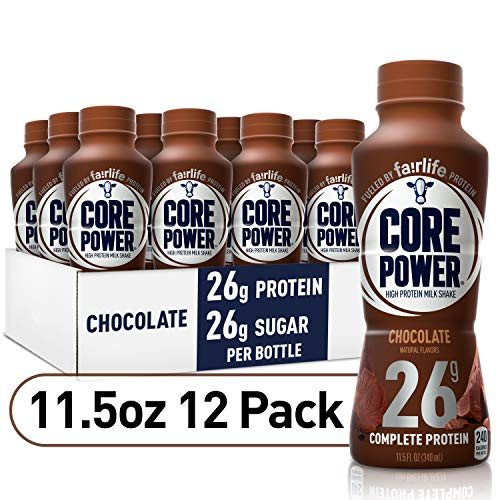 Core Power by fairlife High Protein (26g) Milk Shake, Chocolate, 11.5 Fl Oz bottles, Pack of 12