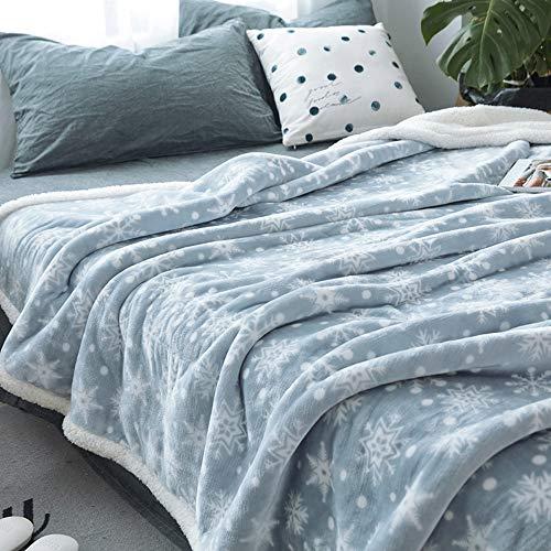 FGDSA Manta de lana rosa, manta de cama, suave, acogedora, cálida y gruesa, impresión de cordero, manta de doble capa para el hogar con almuerzo para cama y sofá