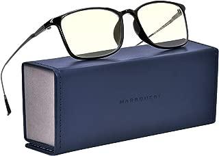 MARSQUEST ブルーライトカットメガネ 度なし パソコン用メガネ UVA・UVB・HEVカット 90%青色光カットメガネ 超軽量18g ステンレス鋼材+PEI材料フレーム 眼精疲労軽減 男女兼用モデル PCメガネ スマホ・パソコンメガネ ブルーライト対策 反射防止眼鏡 収納ケース、メガネ拭き付き