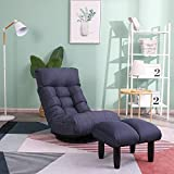 360 Degree Swivel Gaming Chair, Folding Floor Chair with Adjustable Backrest, Cushion Padded Indoor Chaise Lounge with Stool, Lazy Sofa Couch Rocker Gaming Chair for Teens and Adults (Navy Blue)