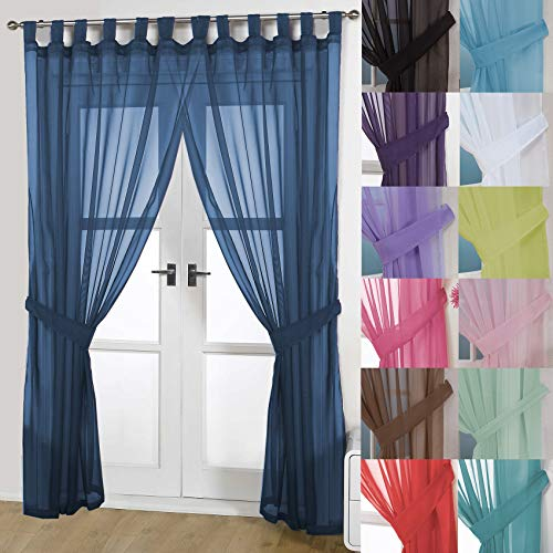 John Aird Pair Of Woven Voile Tab Top Curtain Panels. Free Tiebacks Included (Navy, 58' Wide x 72' Drop)
