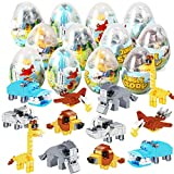 12Pcs Pre Filled Easter Eggs with Safari Animals Building Blocks, Egg Surprise Toys for Easter Basket Stuffers, Easter Party Favors, Easter Basket Filler, Easter Egg Hunt Classroom Prize Toys