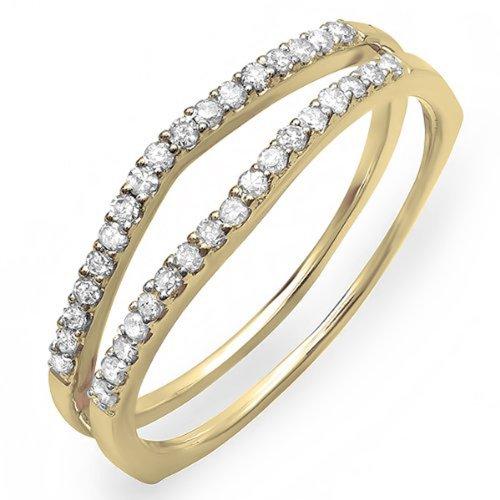 Dazzlingrock Collection 0.25 Carat (ctw) 10K White Diamond Enhancer Guard Wedding Band 1/4 CT, Yellow Gold, Size 7