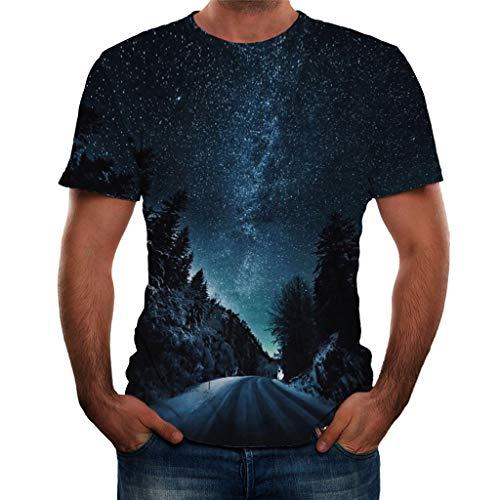 Heren T-shirt met korte mouwen 3D Print - Mode ronde hals Fantasy Sterrenhemel printen Blouse Zomer Casual Kleding