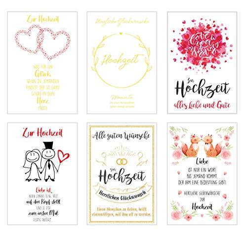 Edition Seidel Set 6 hochwertige Designer Premium Hochzeitskarten mit Umschlag. Glückwunschkarte zur Hochzeit. Karte Geschenk Geld Geldgeschenk (Doppelkarten mit Briefumschlag)