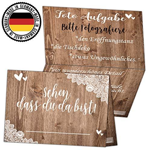 HWArt 50 Tischkarten Vintage Hochzeit Platzkarten Hochzeitskarten Foto Aufgabe Spiel FotoSpiel Holz Spitze Optik Vintage Hochzeitsdeko Tischdeko