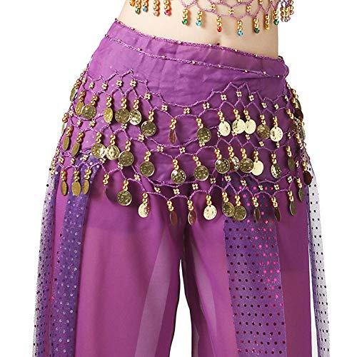 Guiran Fille Jupe De Danse du Ventre Latine Rumba Paillettes Foulards De La Hanche Violet Une Taille