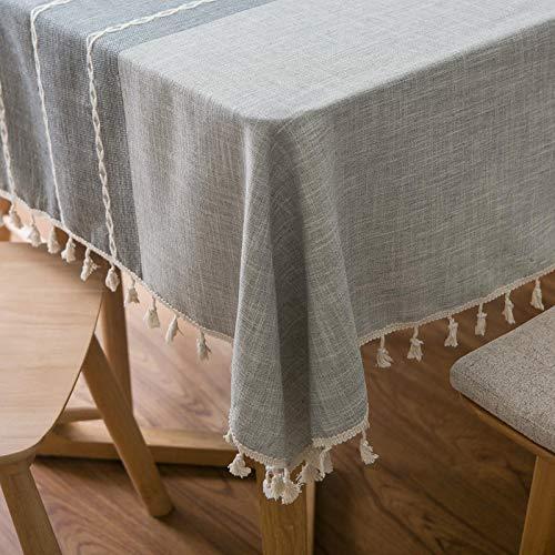 Aonewoe Rechteck Dekoration Tischdecke Baumwolle Leinen Elegante Tischdecke mit Quaste Edge Staubdichte waschbare Küchentischabdeckung für Speisetisch (140cmx200cm, Grau)