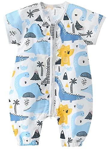 Chilsuessy Baby Sommer Schlafsack mit Füßen Kurzarm Kinder Sommerschlafsack Kinderschlafsack Pyjamas Overall Schlafanzug 100% Baumwolle, Blau Dinosaurier, M/Baby Hoehe 85-95cm