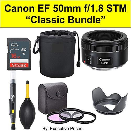 'Classic Bundle' Canon EF 50mm f/1.8 STM Lens + Accessories Bundle