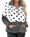 Style Dome Fuzzy - Sudadera con capucha de forro polar para mujer, con capucha de felpa, para invierno, cálida y suave, cremallera 1/4, sudadera de manga larga 2 gris M