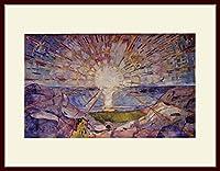 ムンク・「太陽(The Sun)」 プリキャンバス複製画・ 額付き(デッサン額/大衣サイズ/セピア色)