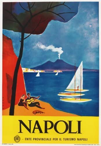 VINTAGE NAPLES SKYLINE GLOSSY POSTER PICTURE PHOTO italy napoli classic old 1497