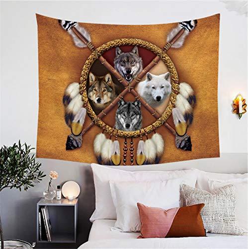 HYDDAXJW Lobos Dream Catcher Tapiz 3D Colgante De Pared Nativo Americano Indio Lobo Indio Tapices Decoración De La Pared Animal Salvaje 150X200Cm