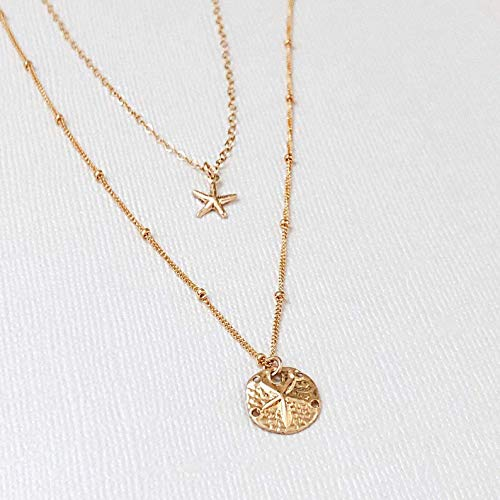14k Gold Filled Starfish And Sand Dollar Dainty Necklace, 2 in 1 Necklace, Minimalist Necklace