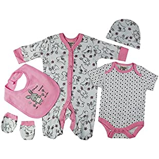 Baby-Girls Bunny Theme Presents Gifts for Newborn Baby Girls Toddler Unisex Cute Clothing Sets Sleepsuit Vest Bib Hat Outfits Bundles Pack