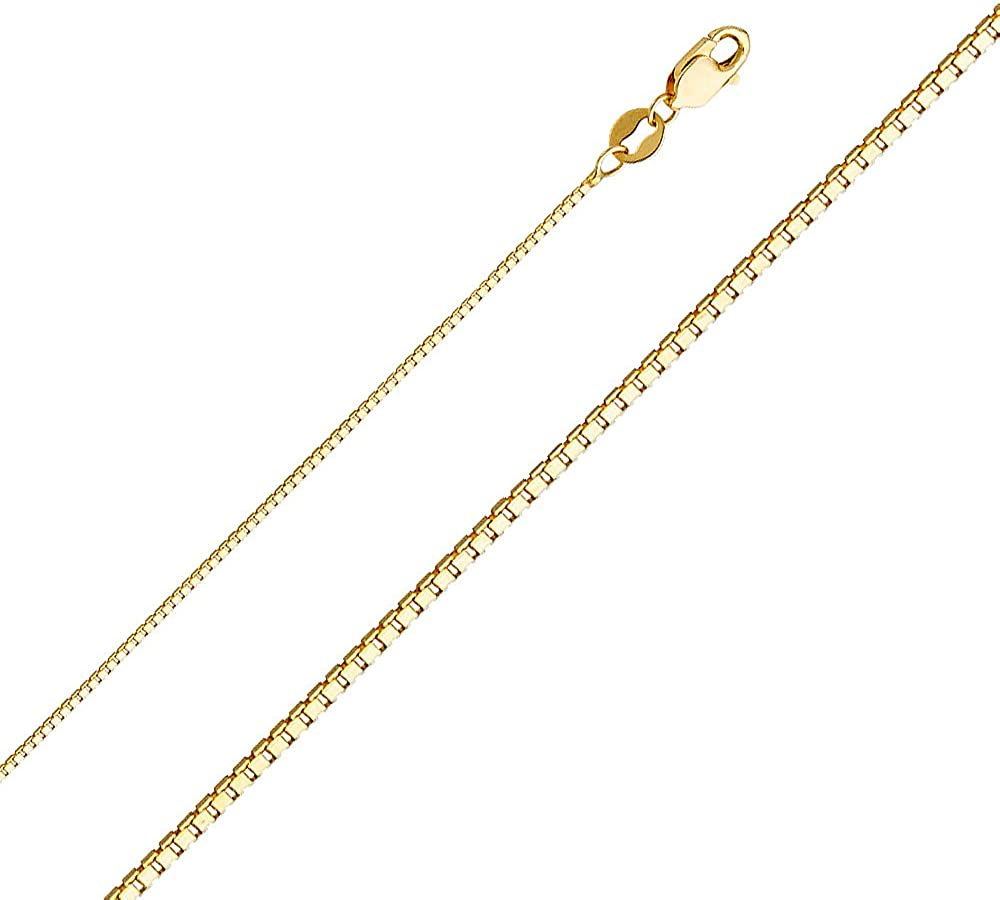 Ioka - 14K REAL Yellow, White, OR Rose Solid Gold 0.8mm Box Chain Necklace with Lobster Clasp