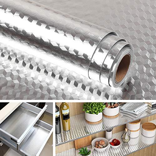 Livelynine Pellicola Protettiva Autoadesiva per Cucina Alluminio Adesivo per Frigo Impermeabile Resistente al Calore Resistente all'olio, Carta Adesiva per Armadietti e Cassetti della Cucina 40CMX2M