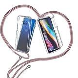 ZHXMALL Funda con Cuerda para Motorola Moto G 5G Plus,360 Grados Ajustable Collar Transparente Carcasa,Anti-Choque PC Duro Delantera TPU Bumper Trasera Cadena Cordón Case Protectora Cover,Oro Rosa