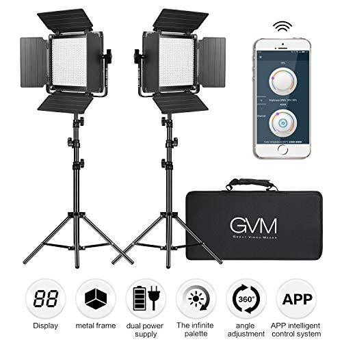 GVM LED Videoleuchten mit Stativ, dimmbar 2300K-6800K CRI97 480 APP Control LED Videoleuchte Studioleuchten für YouTube Photograhy Videobeleuchtung Videolicht