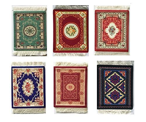 Aidou, 6 sottobicchieri da tavolo per bevande e bevande, design orientale, in tessuto, eleganti tappeti, nappe, sottobicchieri in stile persiano, tappetini per cucina e bar