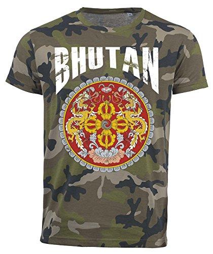 T-Shirt Bhutan Camouflage Army WM 2018 .- Vintage Destroy Wappen D01 (M)