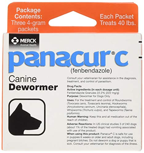 Panacur C Canine Dewormer, Net Wt. 12 Grams, Package Contents Three, 4 Gram Packets. Premium Pack