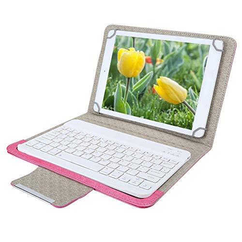 Tastiera Bluetooth multi-dispositivo, tastiera tablet da 10 pollici con custodia in pelle PU, portata wireless 10 m, tastiera wireless Bluetooth universale per Android, per IOS, per Windows.(Rosa)