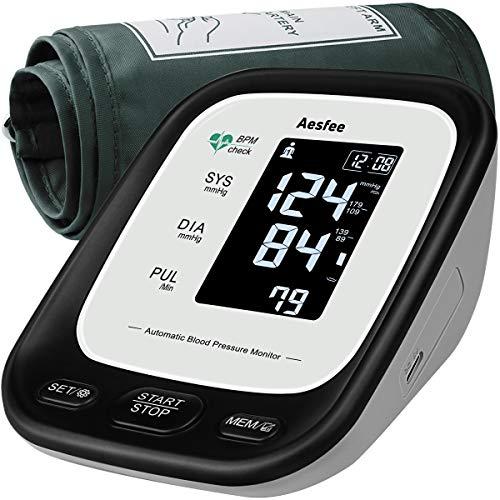 Tensiómetro de Brazo Digital Recargable USB, Monitor Eléctrico de Presión Arterial Medición Automática de la Presión con Brazalete de 22-36cm, Usuario Dual 2 x 90 Memorias, Pantalla LCD Retroiluminada